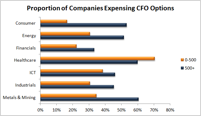 Option grants by sector CFO